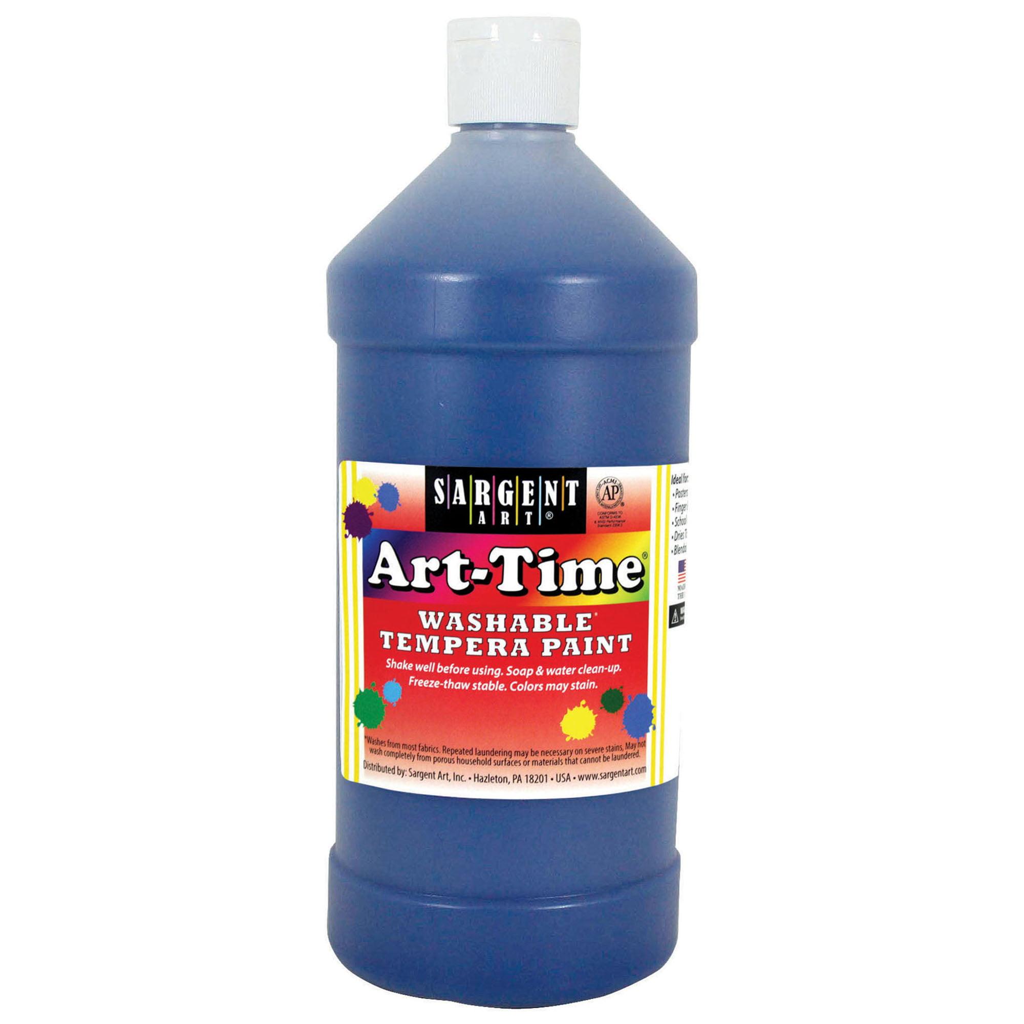 Art-Time® Washable Tempera Paint, Blue - 32 oz., 6/pkg