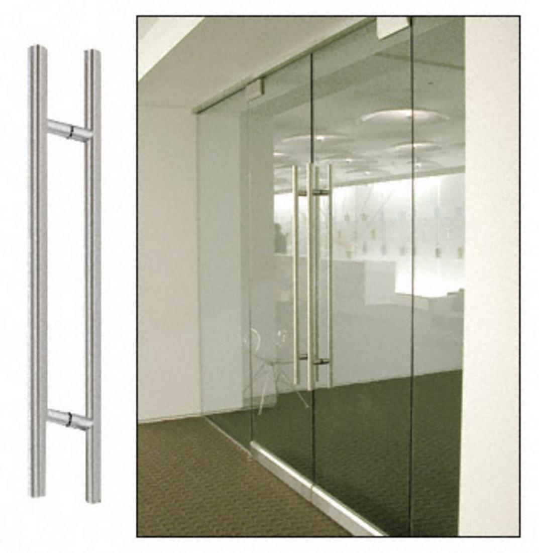 """CRL Brushed Stainless 72"""" Extra Length Ladder Style Back-to-Back Pulls"""