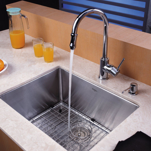 Kraus 23'' x 18'' Undermount Single Bowl Kitchen Sink with 10'' Faucet and Soap Dispenser