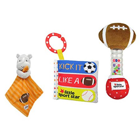 KP Kids Preferred Ultimate Baby Gift Set, Little Sport Star On The Go Plush Developmental Rattle 16.25, Soft Book, and Matching Blankie 12 Gift Bundle Set (Football)