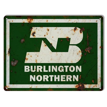 - Distressed Burlington Northern Railroad Sign 9