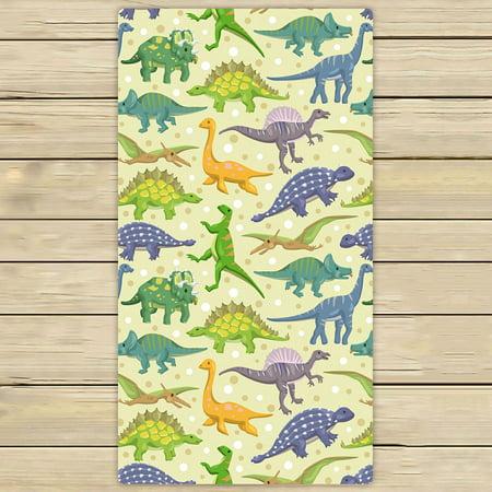 PHFZK Animal Towel, Cute Dinosaurs Pattern Hand Towel Bath Bathroom Shower Towels Beach Towel 30x56 (Dinosaur Hooded Towel)