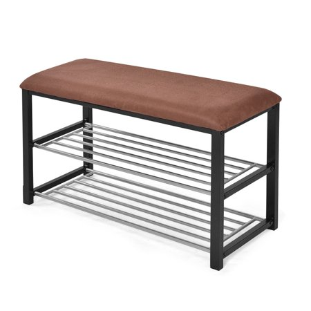 Costway 2 Tier Shoe Storage Rack Bench Shelf Soft Seat Stool Organizer Entryway Furni ()