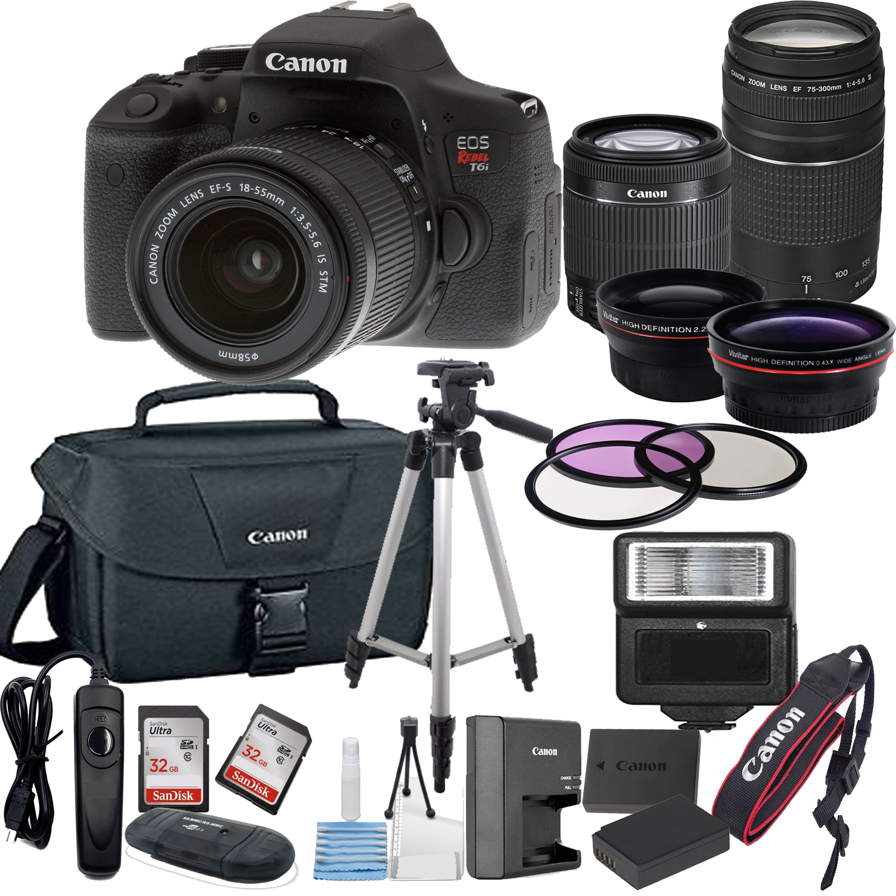 Canon EOS Rebel T6i Digital SLR Camera w/ EF-S 18-55mm + 75-300mm Telephoto Zoom Lens  Bundle includes Camera, Lenses, Filters, Bag, Memory Cards, Tripod, Flash, Remote Shutter , Cleaning Kit, Replace