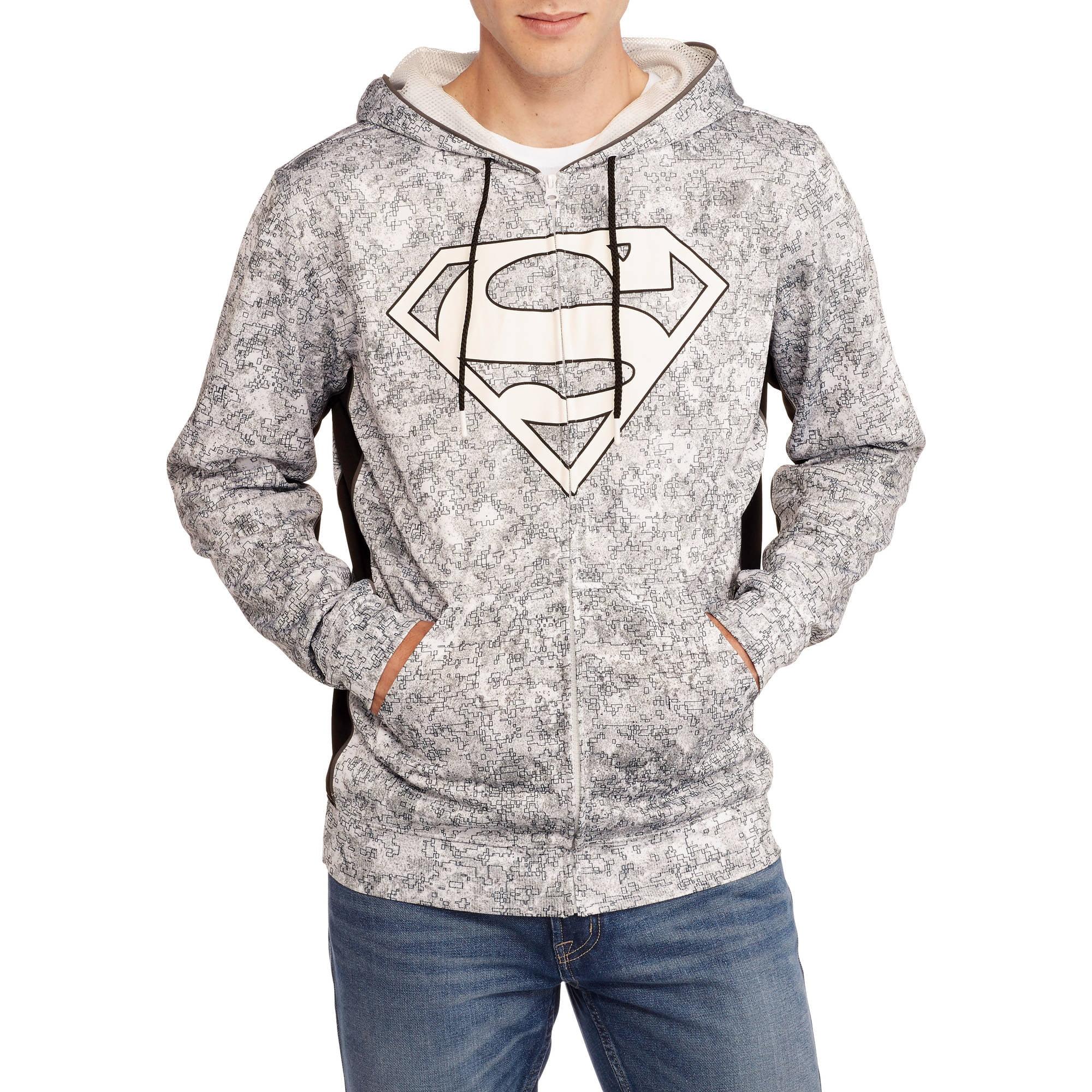 Superman Big Men's Sublimated Applique Shield Poly Hoodie, 2XL
