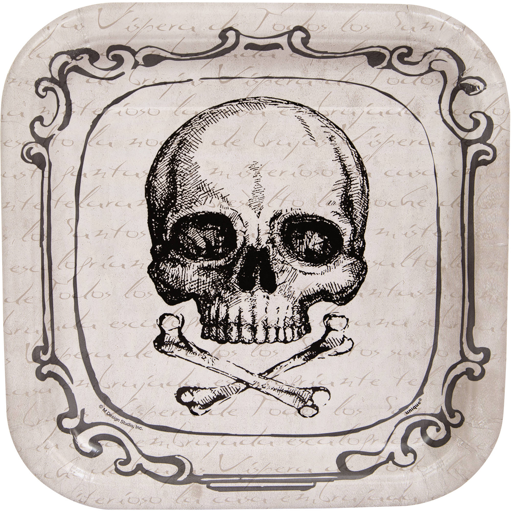 """9"""" Square Relic Skull Party Plates, 8ct"""