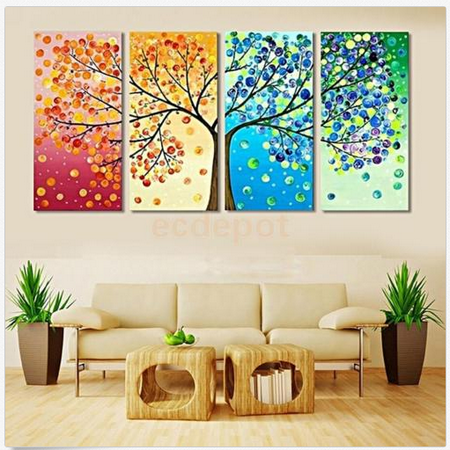 4Pcs Unframed Colorful Season Tree Print Wall Art Painting Picture Home Hall Decor Require a - Halloween Folk Art Paintings