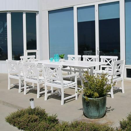 Vifah Rectangular Extension Table Armchair Outdoor Nine Wood Dining Set