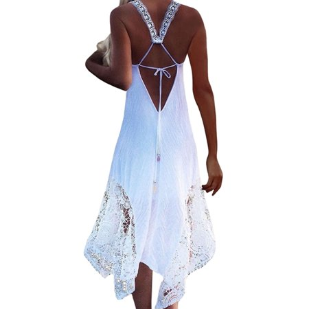 Summer Boho Sleeveless Long Maxi Dress For Women Party Beach Cover Ups Long Strap Cold Shoulder Swim Sundress - Dress Ups For Adults