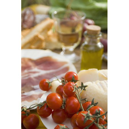 Prosciutto Ham Cheese Tomatoes White Wine And Other Ingredients For Picnic Tuscany Italy Stretched Canvas - Ian Cumming  Design Pics (12 x