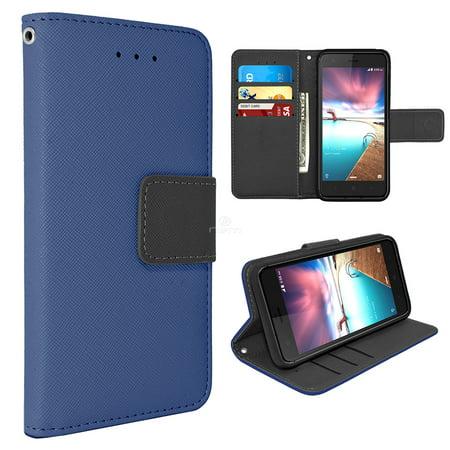 new styles adc8c af88d ZTE Sequoia / Z982 / Blade Z Max / ZMax Pro 2 Flip [Folio][magnetic] Wallet  case Credit Card Holder & ID Slot PU Leather TPU Design