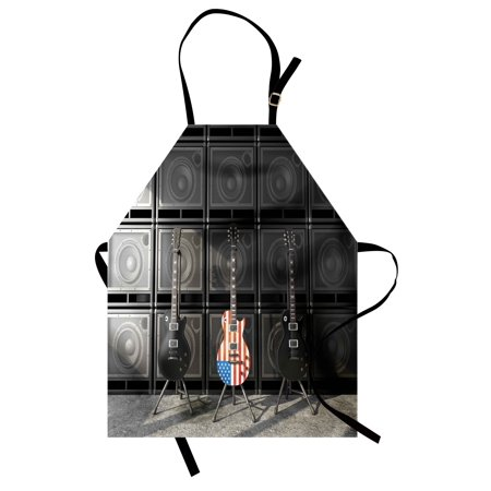 American Flag Apron Black and Us Bass Guitar Electronic Rock Music Theme Digital Graphic Work, Unisex Kitchen Bib Apron with Adjustable Neck for Cooking Baking Gardening, Multicolor, by Ambesonne