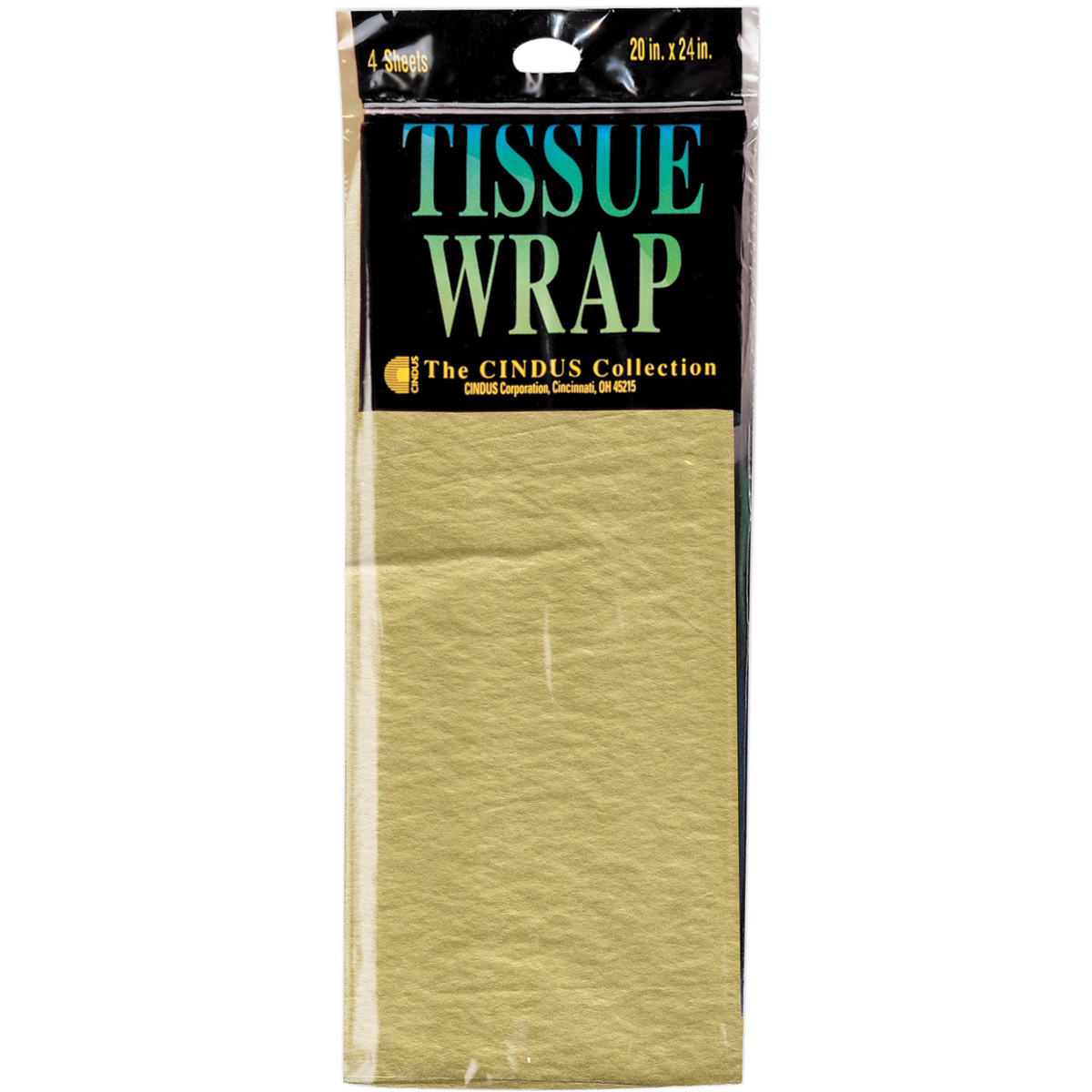 "Tissue Gift Wrap 20""X20"" 4/Pkg-Gold"