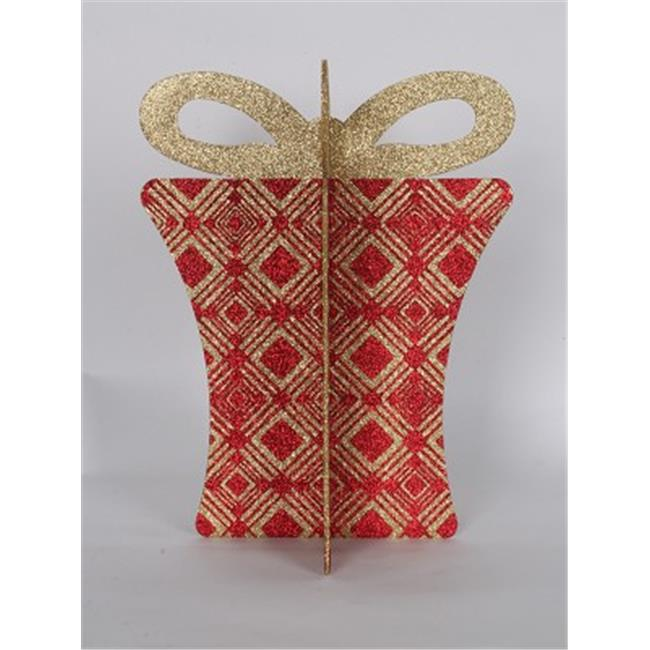 Winterland WL-3D-GIFT-13-RE-GO Red And Gold Gift Box, 13.5 in.