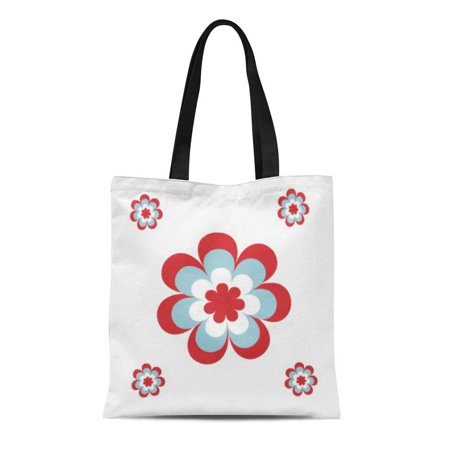 LADDKE Canvas Tote Bag Blue Flowers Simple Floral Pattern Red White Customize Customise Reusable Handbag Shoulder Grocery Shopping (Customise Or Customize)