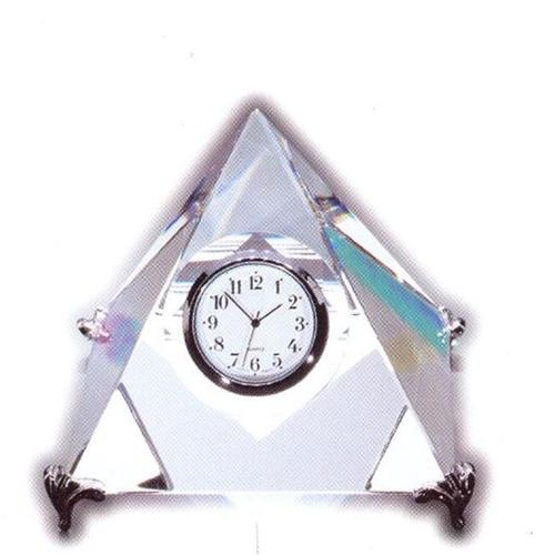 Asfour Crystal 49-90 4.33 L x 4.33 H in. Crystal Pyramid Clock Office Figurines