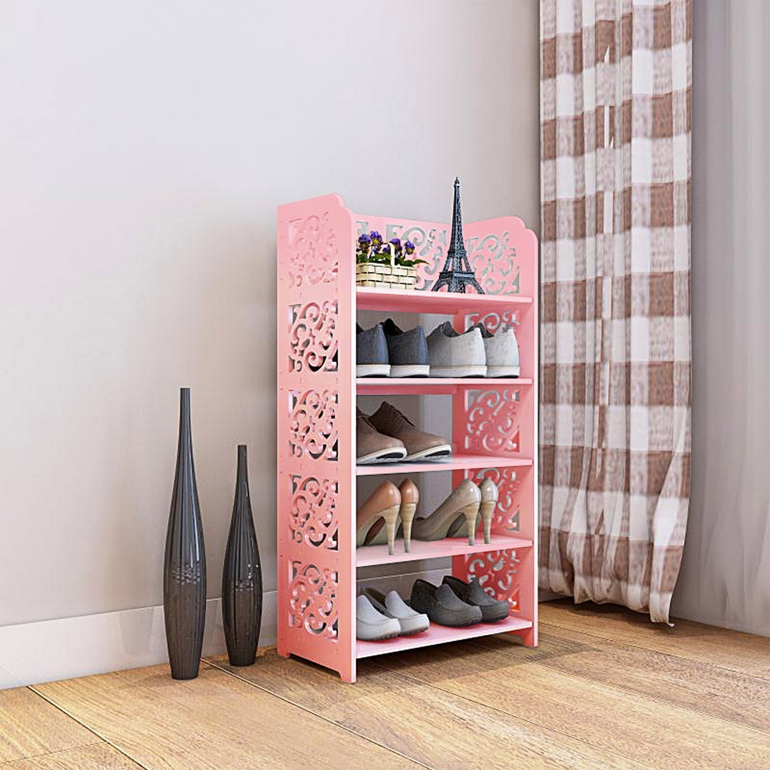 DL furniture - 5 tier WPC Shoe Rack / Shoe Storage Stackable Shelves Free Standing Shoe Racks - Pink
