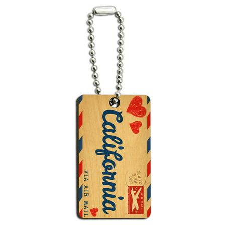 Rectangle Shape Key Tag (Air Mail Postcard Love for California Wood Rectangle Key Chain)