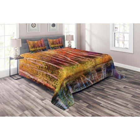 Flower Coverlet Set, Fall Trees along with Lake Fall in Jungle Natural Paradise Best Places in Earth, Decorative Quilted Bedspread Set with Pillow Shams Included, Grink Purple, by (Best Place To Get Bedding)