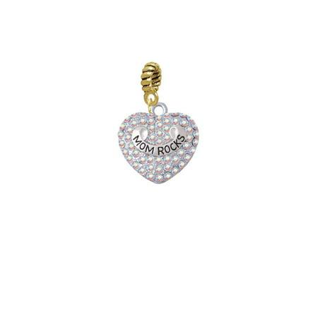 Silvertone Mom Rocks on AB Crystal Heart - Goldtone Charm -