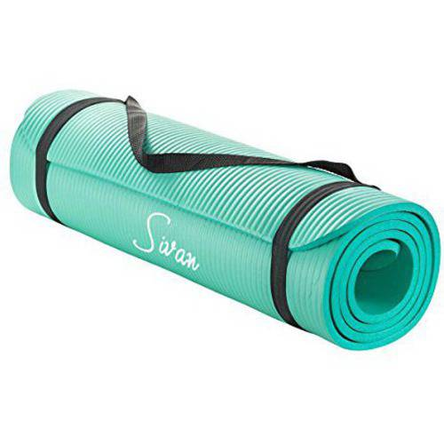 "Sivan Health and Fitness 1/2"" Extra Thick 71"" Long NBR Comfort Foam Yoga Mat for Exercise, Yoga and Pilates (Teal)"