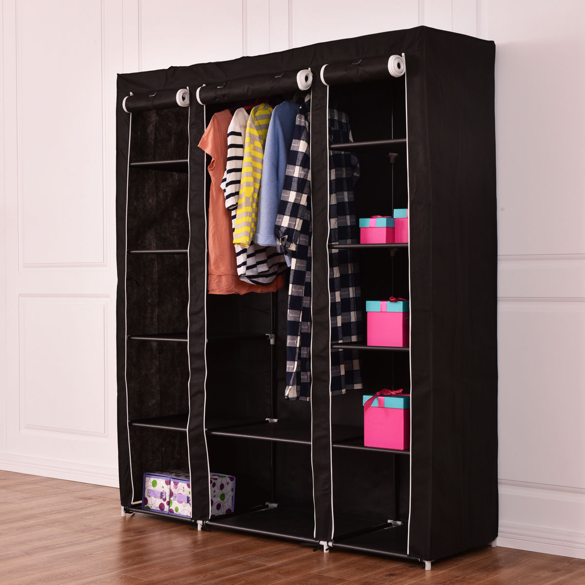Costway 70'' Portable Closet Storage Organizer Clothes Wardrobe Shoe Rack W/Shelves Black