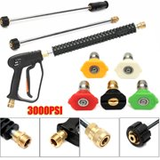 3000 PSI High Pressure Power Washer Car Water Spray Gun with 2pcs Extension Wand and 5pcs Spray Nozzles, Garden Car Washing Cleaning Tool