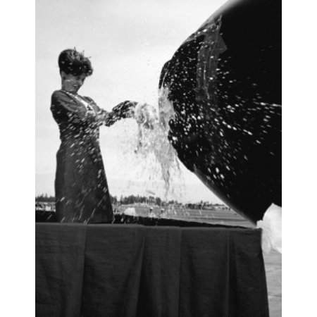 Side profile of a young woman breaking a champagne bottle at an airplane inauguration 1966 Canvas Art -  (24 x - Champagne At Walmart