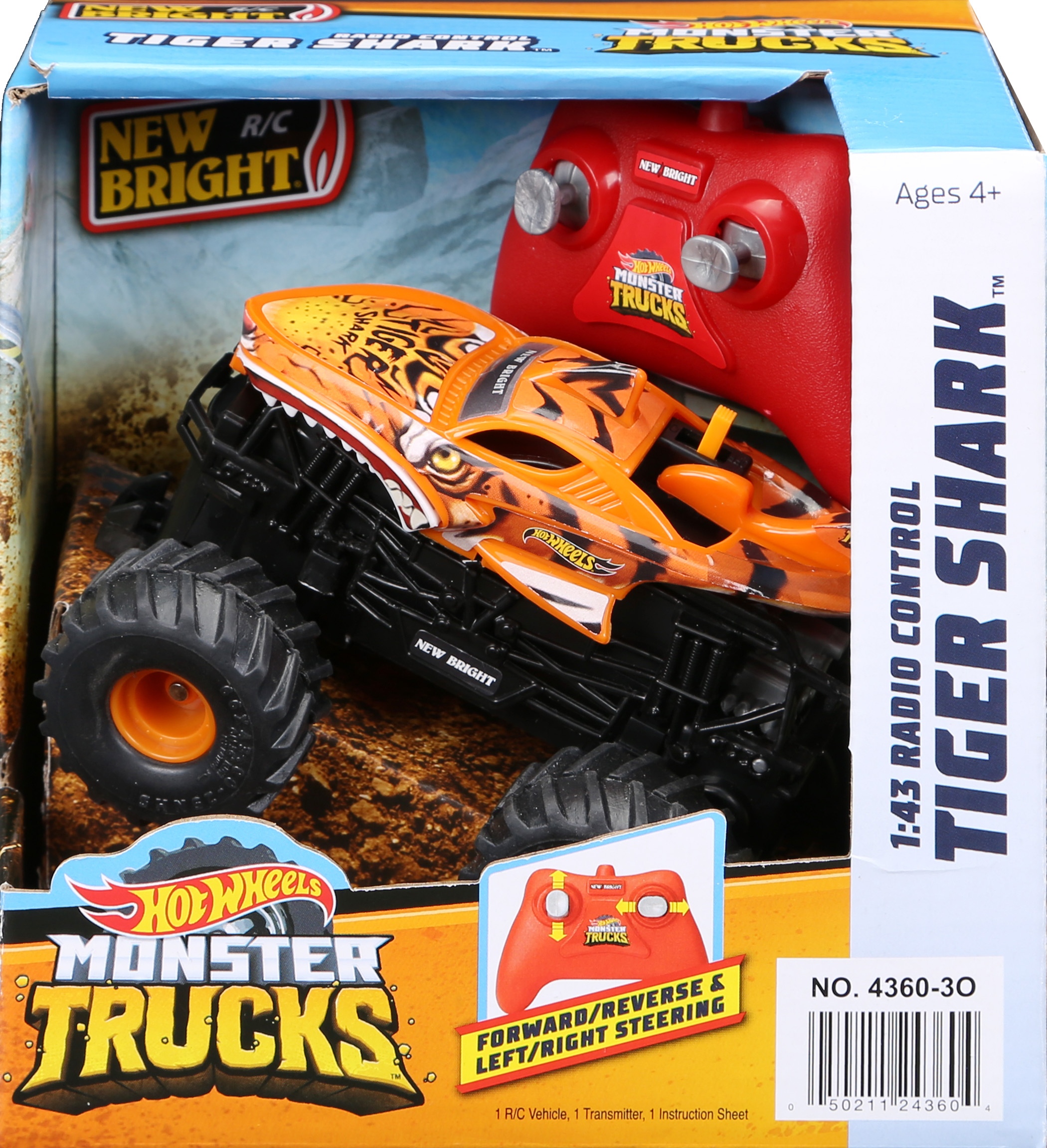 New Bright Rc 1 43 Scale Remote Control Monster Truck Hot Wheels Tiger Shark 2 4ghz Walmart Com Walmart Com