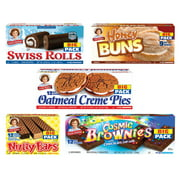 Little Debbie School Snacks Big Pack (5boxes): Honey Buns,  Cosmic Brownies, Oatmeal Pies, Nutty Bars, Swiss Rolls