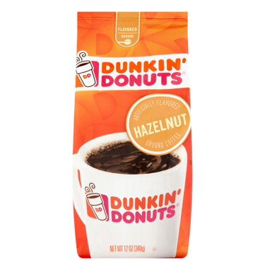 - (2 Pack) Dunkin' Donuts Hazelnut Ground Coffee, 12 oz
