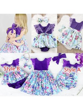 5f40fc458068 Product Image Newborn Baby Girl Sister Matching Floral Clothes Jumpsuit  Romper Dress Outfits P