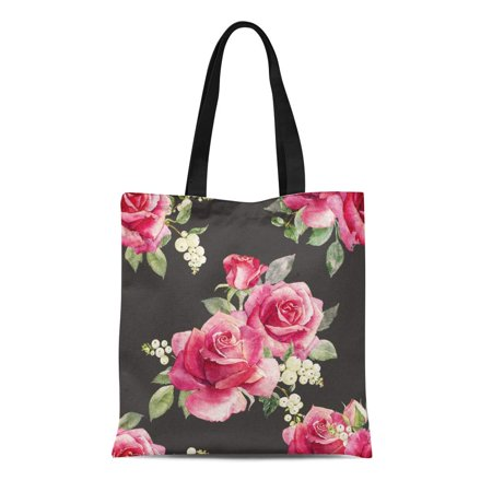 - ASHLEIGH Canvas Tote Bag Pink Watercolor Floral Pattern Red Rose Berries Snowflake Dark Retro Reusable Shoulder Grocery Shopping Bags Handbag