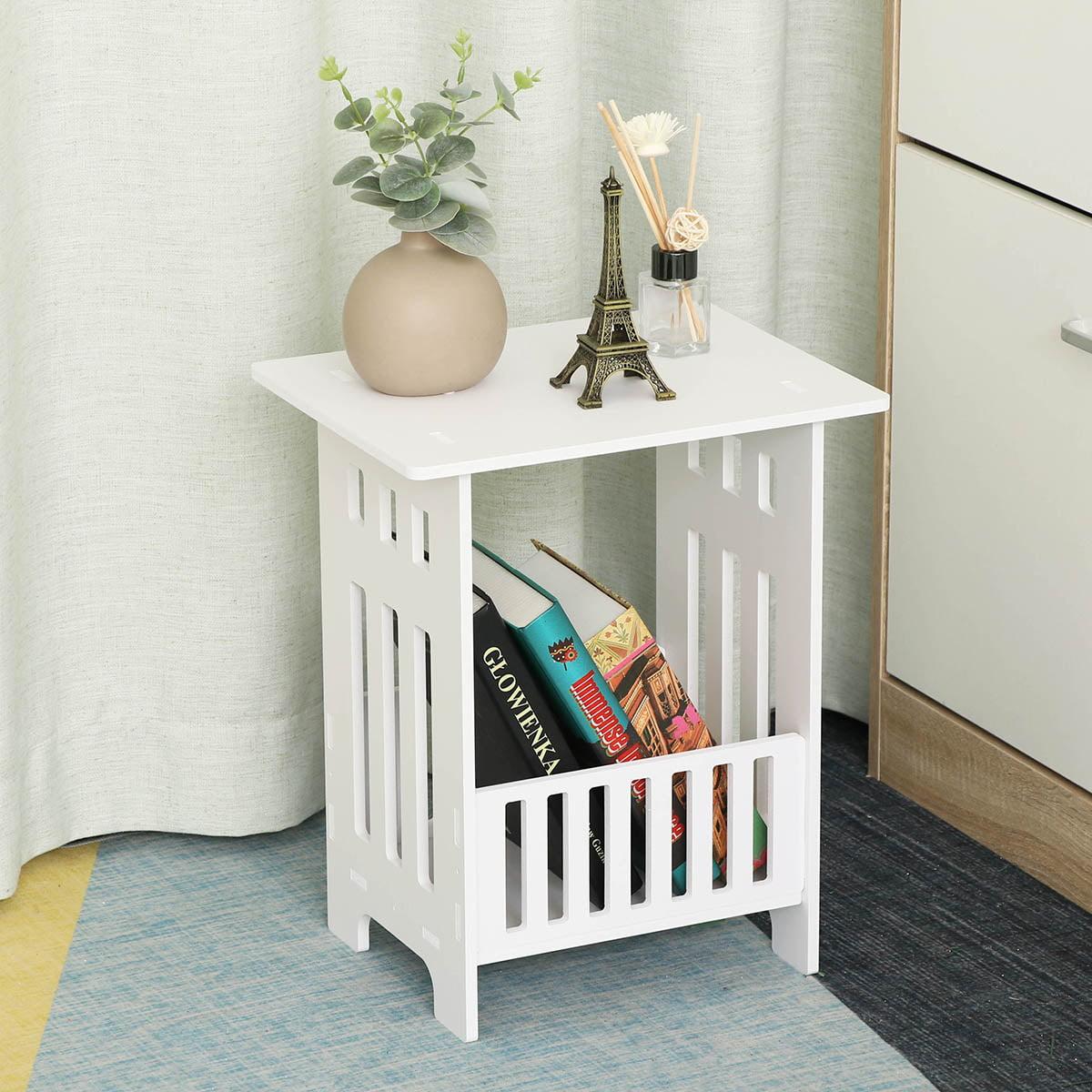 modern design white nightstand with storage basket side