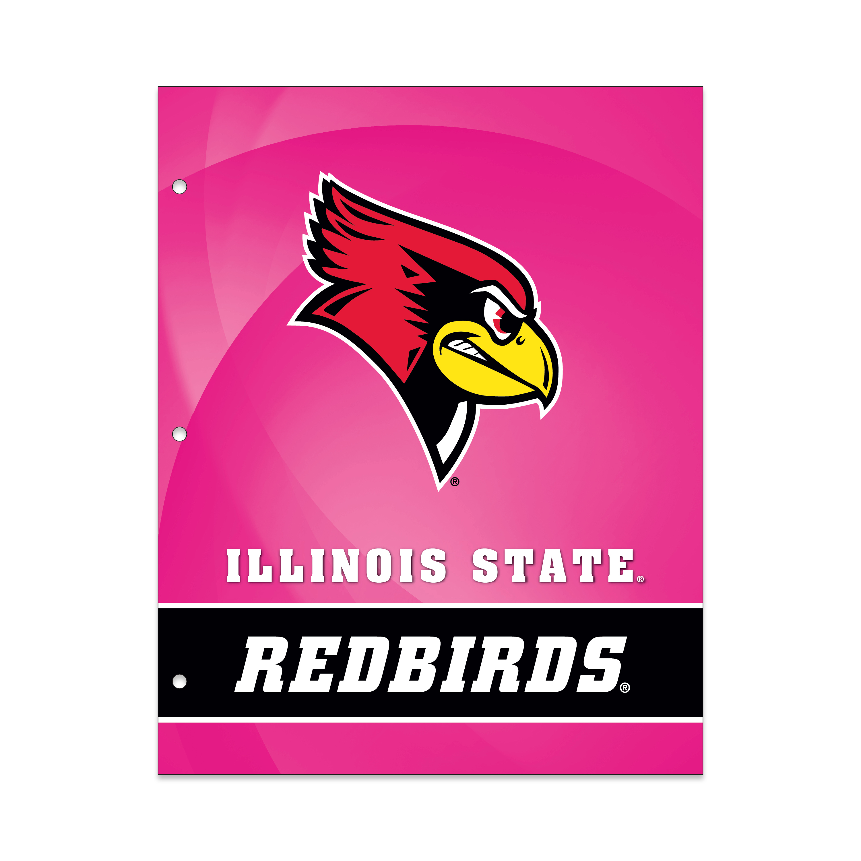 NCAA Illinois State Redbirds 2 Pocket Portfolio, Three Hole Punched, Fits Letter Size