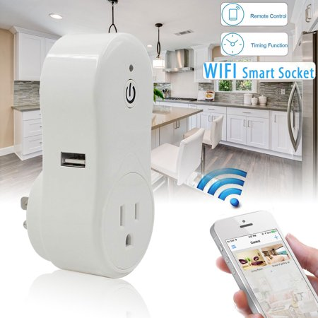 Eeekit Wifi Smart Socket Works With Amazon Echo Alexa  Remote Control Outlet Timer Us Plug Turn On Off Switch  1 Usb Port