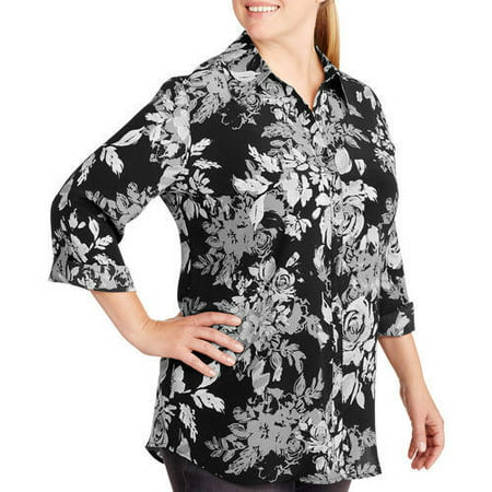 2a8c8df2e1f White Stag - Women s Plus-Size Woven 2fer Blouse With Built-In Layering  Tank - Walmart.com