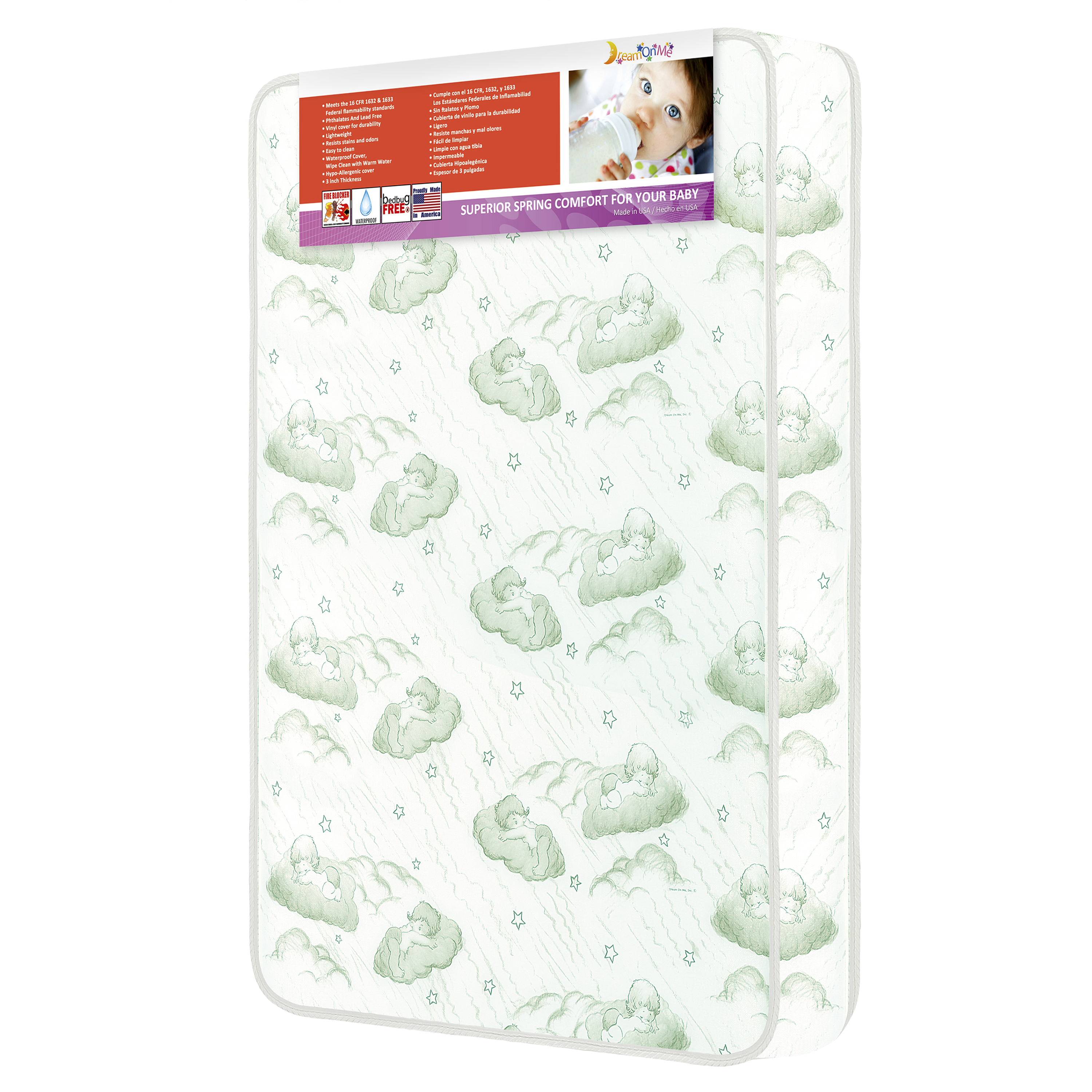 "Dream On Me 3"" Innerspring Crib and Toddler Mattress, Green Cloud"