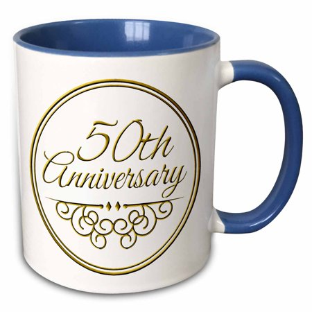 3dRose 50th Anniversary gift - gold text for celebrating wedding anniversaries - 50 years married together - Two Tone Blue Mug, 15-ounce
