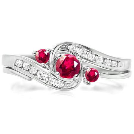 14K White Gold Round Ruby And White Diamond Ladies Swirl Bridal Engagement Ring Matching Band Set