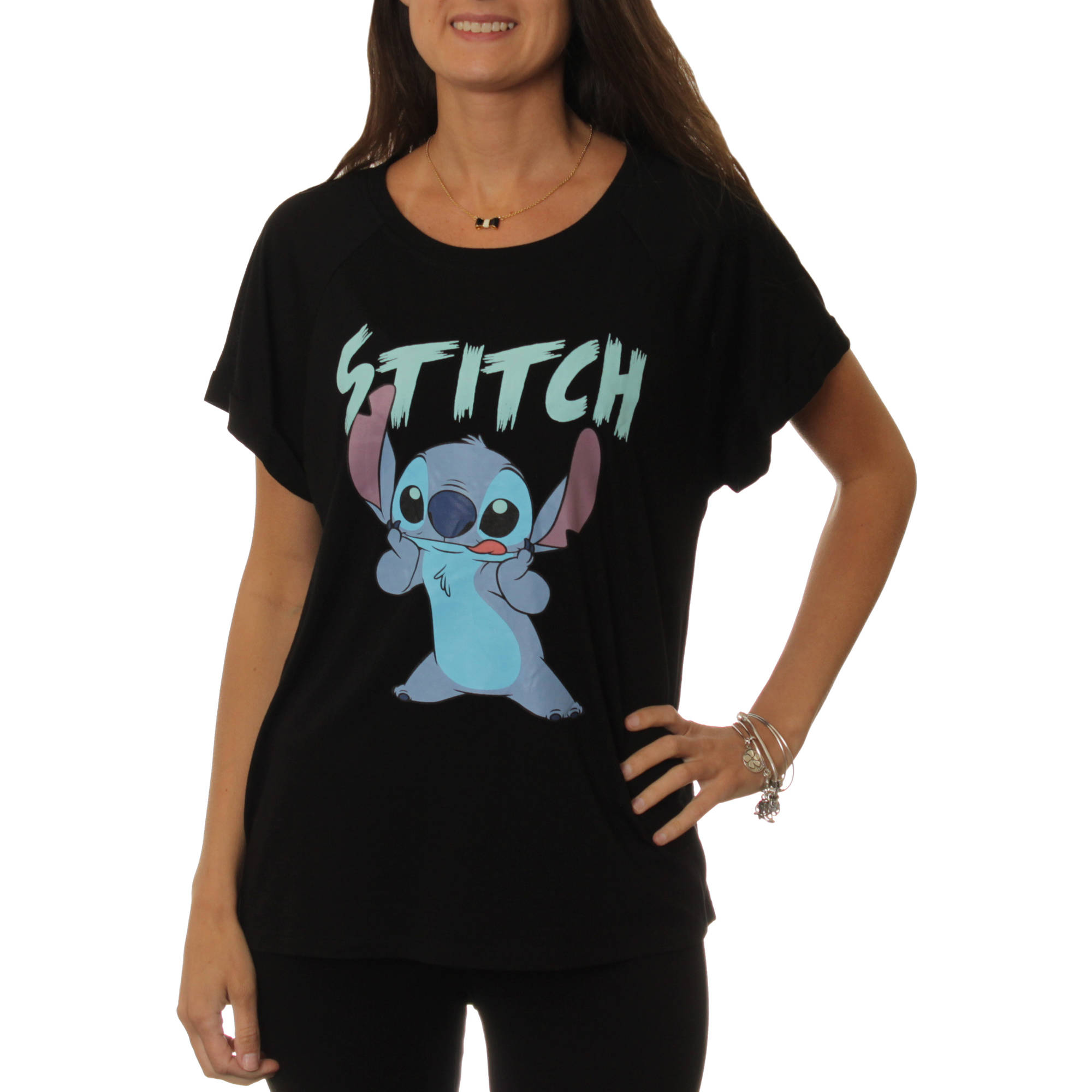 Disney Women's Stitch Hi-Lo Graphic T-Shirt