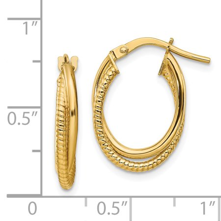 14K Yellow Gold Polished Textured Double Hoops - image 1 de 2