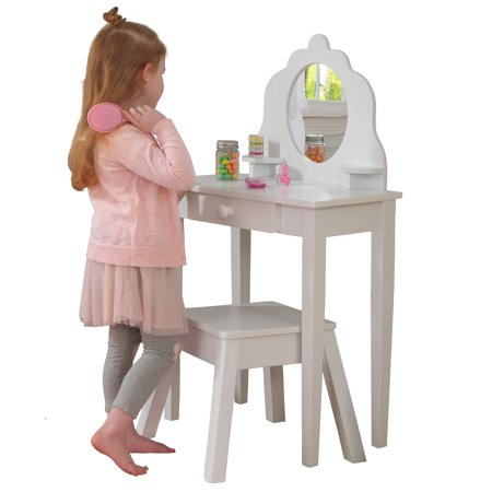 Kid Kraft Medium Bedroom Vanity with Stool - White