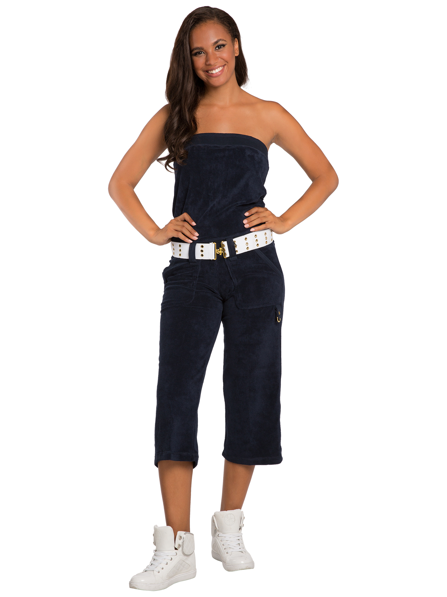 944ceb8fda Sweet Vibes - Sweet Vibes Juniors Olive Stretch Terry Cloth Tube Jumpsuit  With Belt - Walmart.com