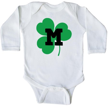 Alphabet Baby Clothes - Inktastic Irish Shamrock Letter M Monogram Long Sleeve Creeper St Patricks Day Alphabet Green Clover Monogrammed Childs Holiday Initial L Cute Logo Hws