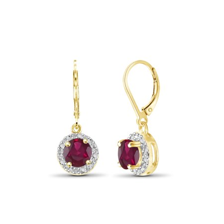 Ruby Diamond Huggie Earrings (JewelersClub 1 1/3 Carat T.G.W. Ruby and White Diamond Accent 14kt Gold Over Silver Halo)