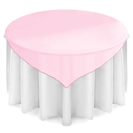 Lanns Linens 72 Inch Square Organza Tablecloth Overlay   Wedding Banquet Party Decoration   Light Pink