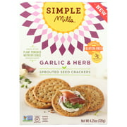 (6 Pack) Simple Mills Garlic And Herbs Sprouted Seed Crackers, 4.25 Oz.