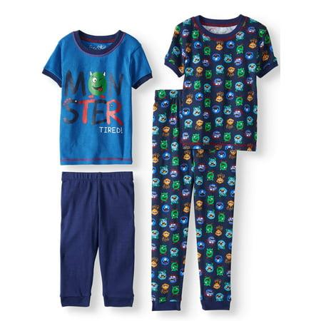 Boys' Monster 4 Piece Pajama Sleep Set (Little Boy & Big Boy) - Little Boys Christmas Pajamas