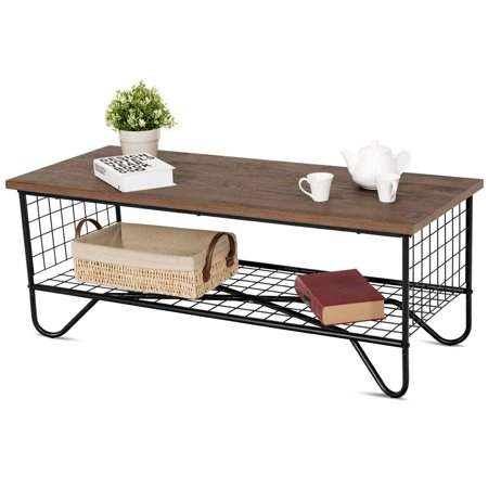 Gymax Coffee Accent Cocktail Sofa Side Table Solid Metal Frame Bedroom W/Lower Shelf